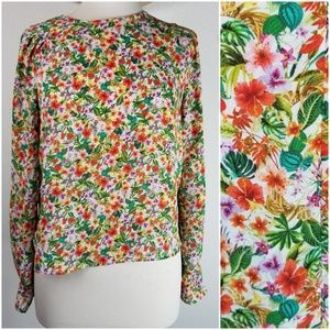 H&M floral high neck flat front blouse